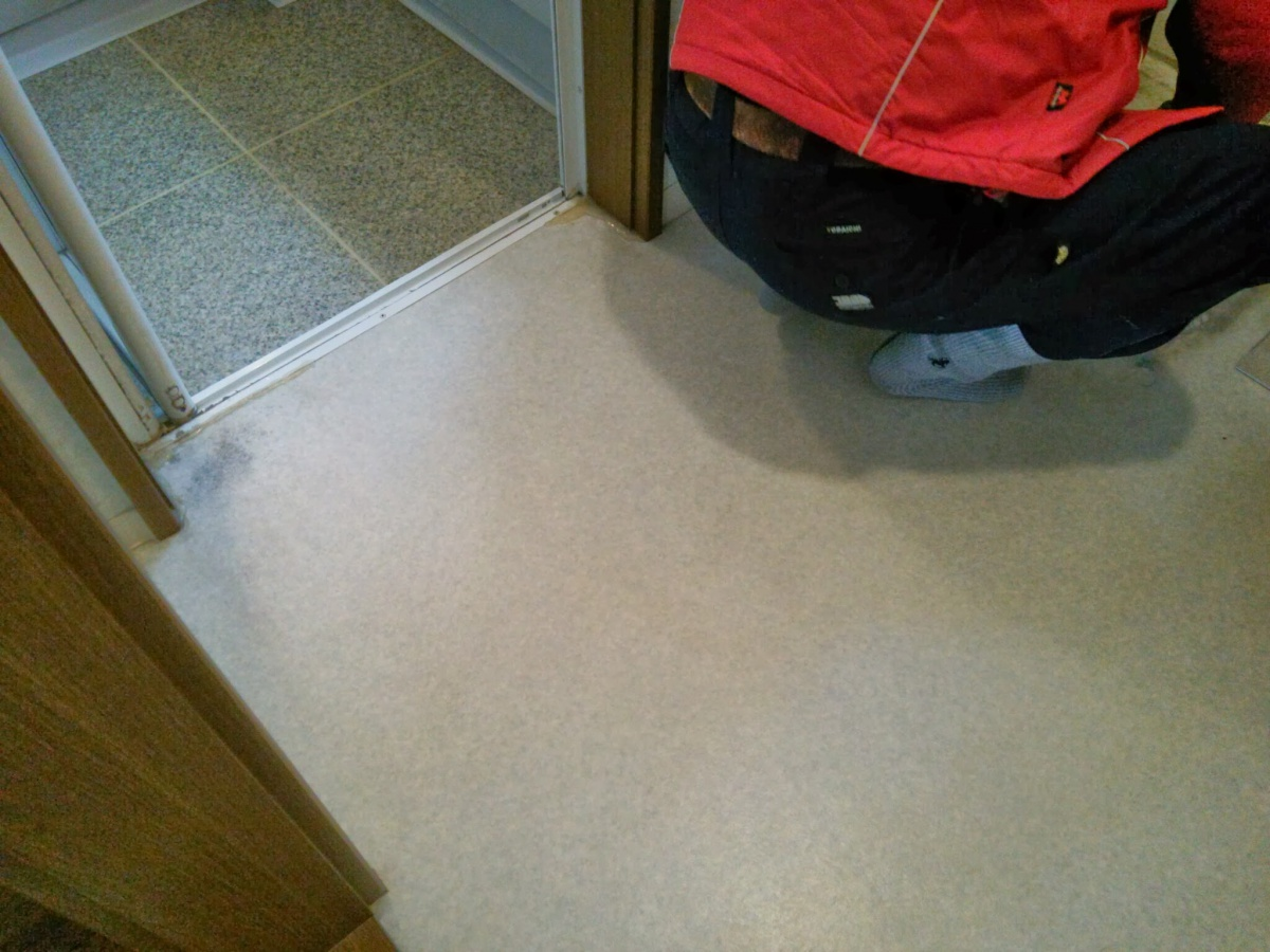 脱衣室床腐食-CF剥がし前